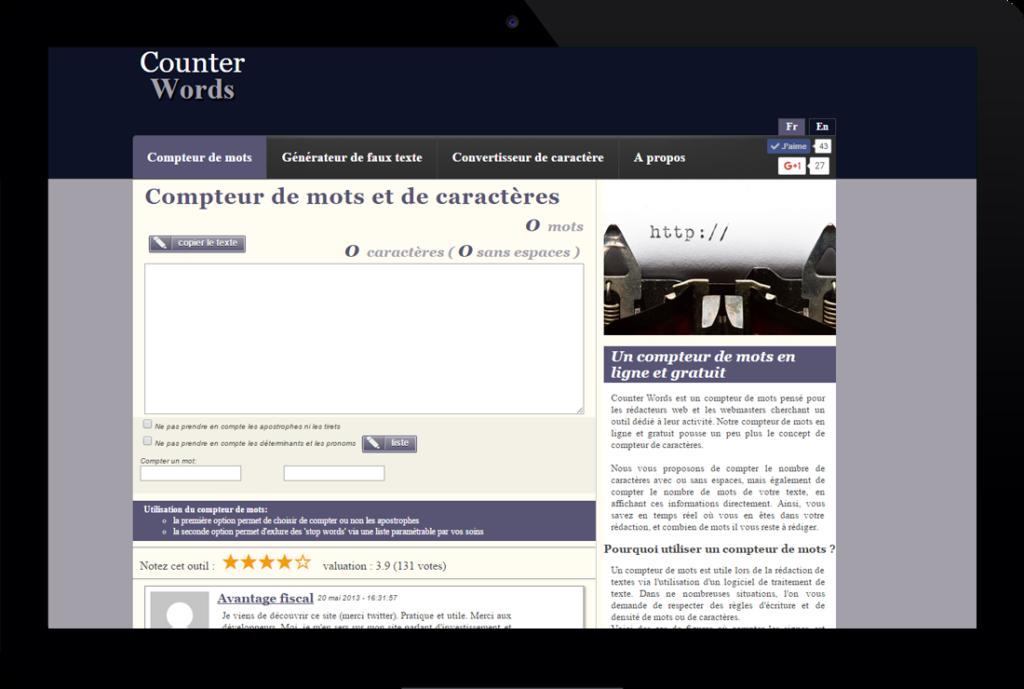 Compteur de mots en ligne - CounterWords